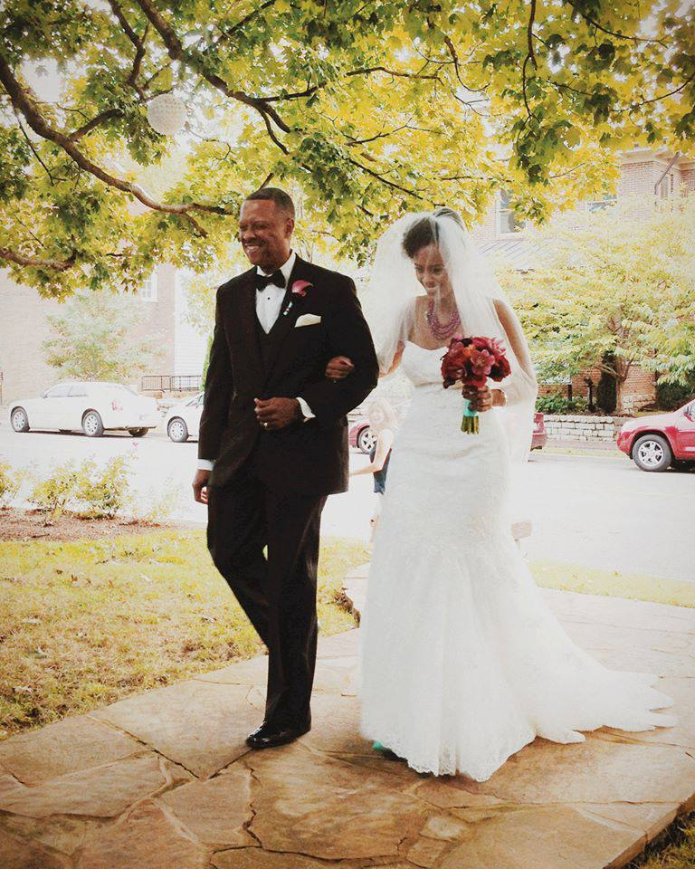 Dad and me walking down the aisle. Photograph by and courtesy of George Middlebrooks.