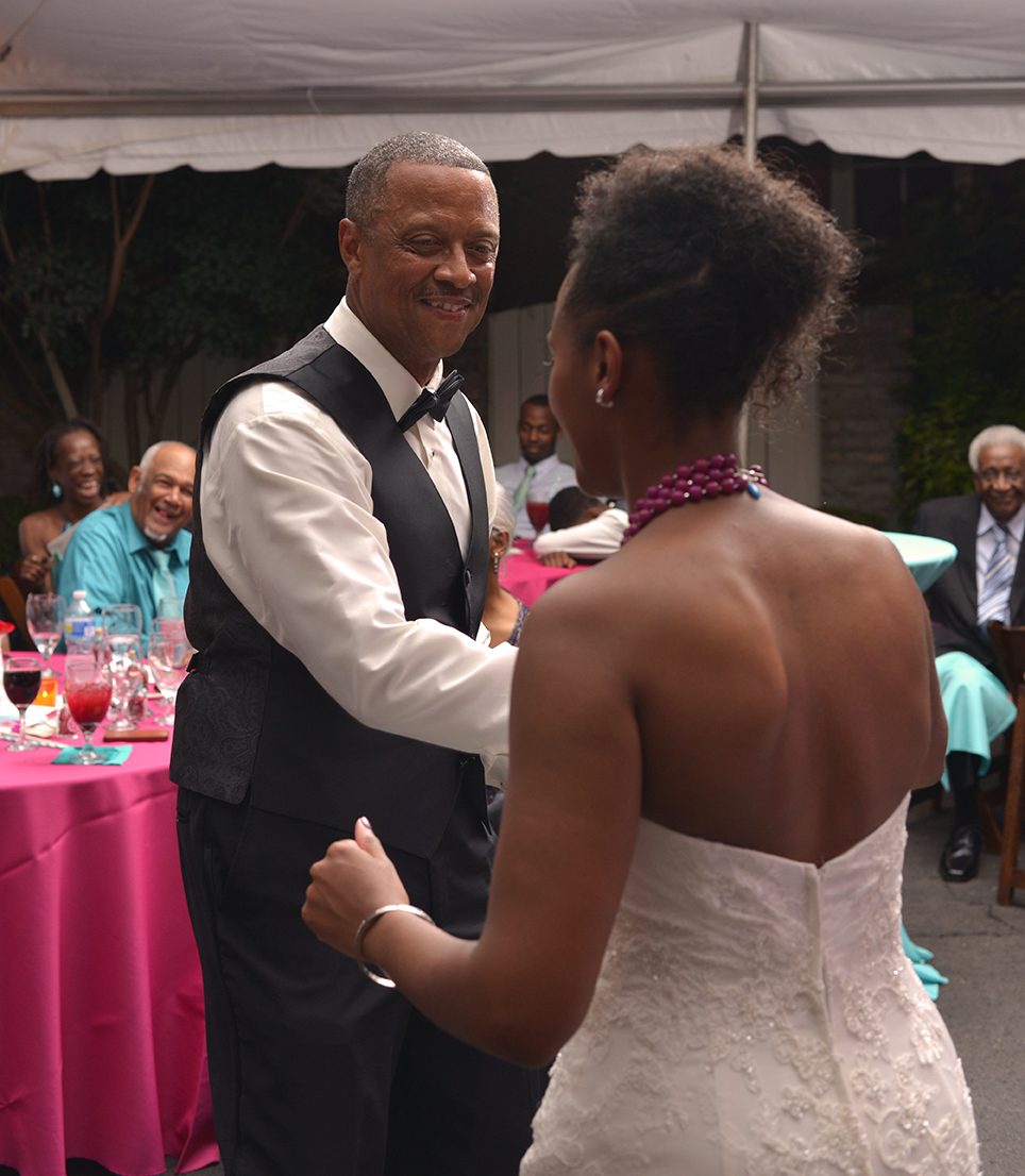 Dad and me dancing to Ray Charles during the reception.